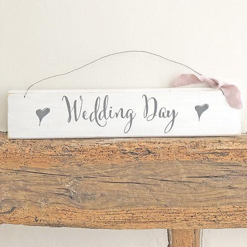 Hand painted wood wedding sign (large) - Wedding Day