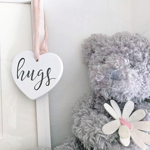 Hanging ceramic heart decor - hugs