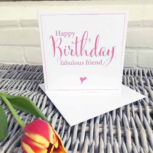 Birthday card - fabulous friend