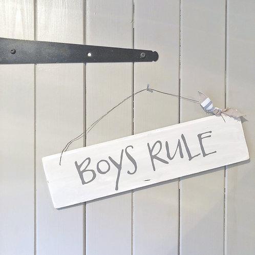 Hand painted wood sign - Boys Rule (Boys bedroom) decor