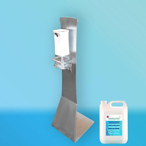 HOwCLean Small Stainless Steel Sanitiser Station-  iDispenser, Stand + 5 Litres.