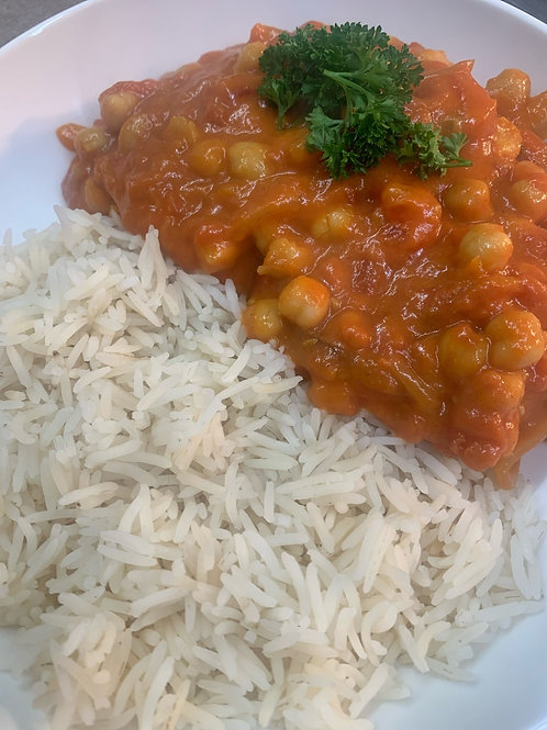 Tomato & Chickpea Curry Served with Basmati Rice (Main)
