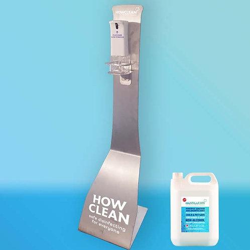 HOwCLean Stainless Steel Sanitiser Station-  iDispenser, Stand + 5 Litres.