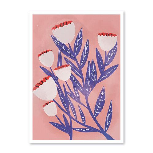 White Flowers A3 · Kunstdruck mit Signatur
