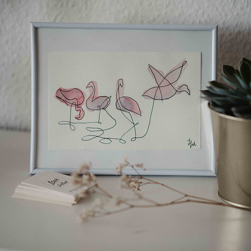 Flamingos · handgemalte Illustration · gerahmt