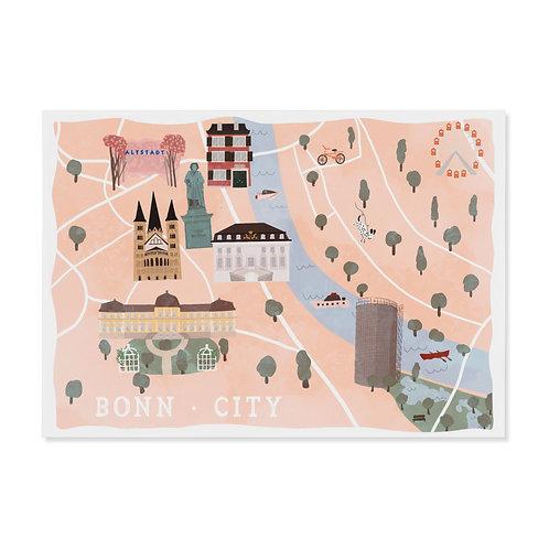 """Postkarte """"Bonn City Map"""""""
