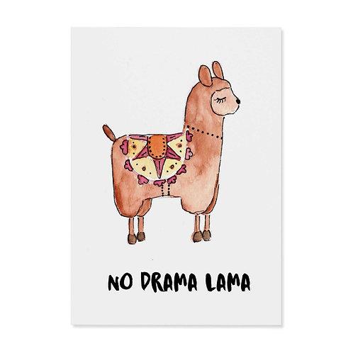 "Postkarte ""no drama lama"""