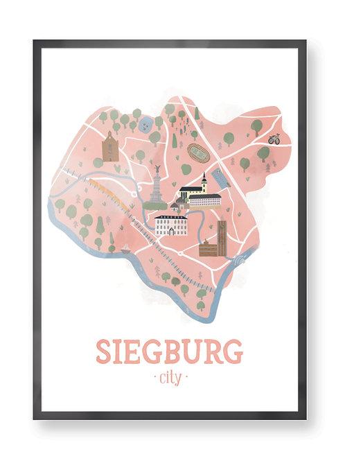"Kunstdruck ""Siegburg city"" handsigniert"