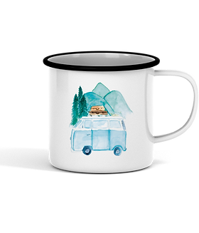"Emaille Tasse ""new adventures"""