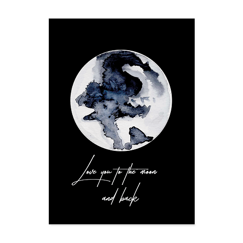 "Postkarte ""Love you to the moon"""