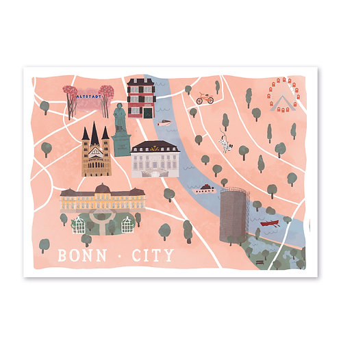 Bonn City Map · A3 · Kunstdruck mit Signatur