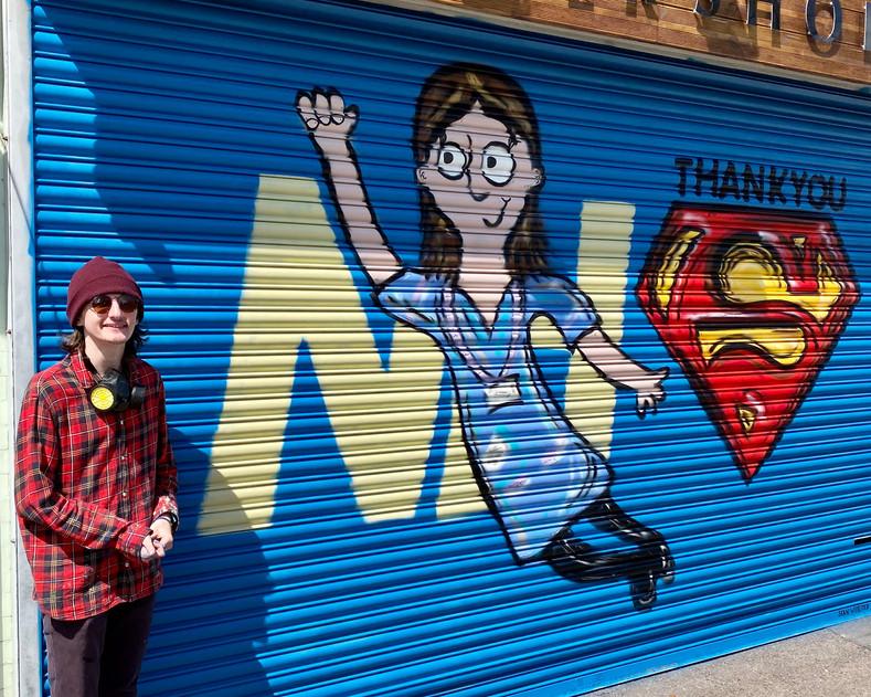 Sean With His NHS Mural
