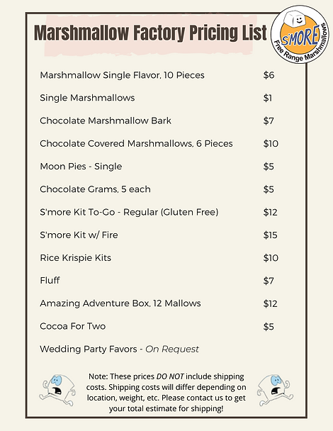 Marshmallow Factory Pricing List Updated
