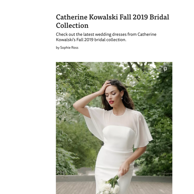 The Knot: Catherine Kowalski Fall 2019 Bridal Collection