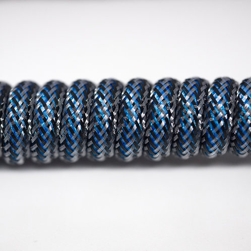 Coiled USB Cable (Blue/Carbon)