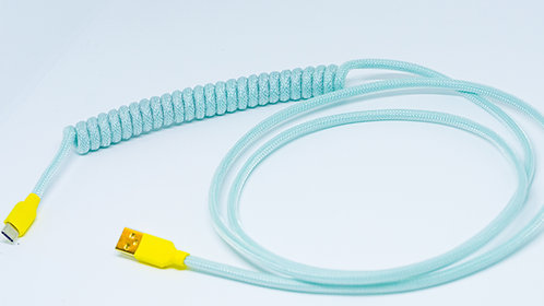 Coiled USB Cable (Blue/Transparent)