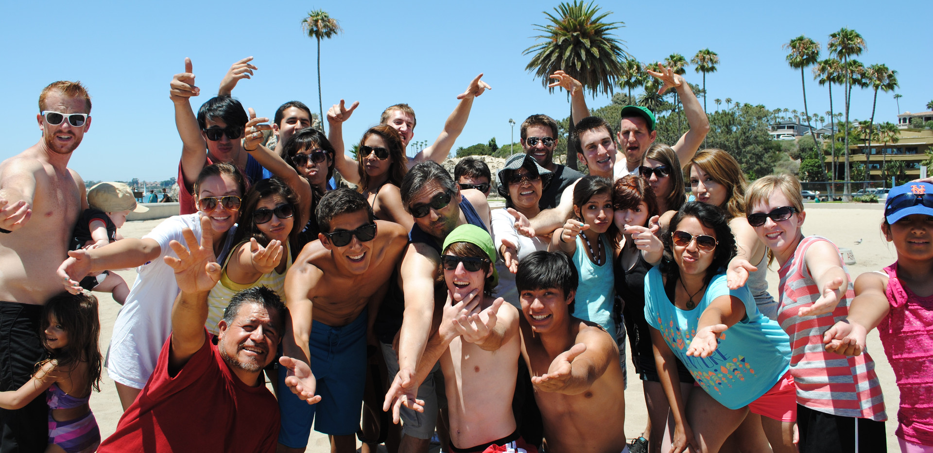 camp staff beach