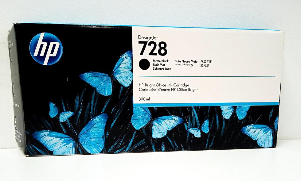 vista frontal del cartucho de tinta Hp Designjet 728black
