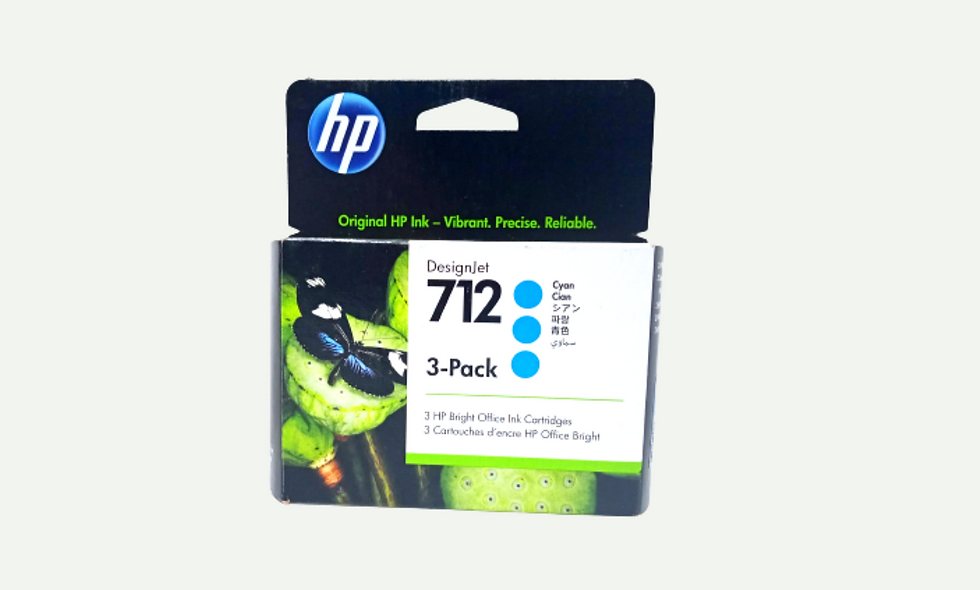 vista frontal cartucho de tinta Hp Designjet 712 para equipos plotter Hp DesignJet T250