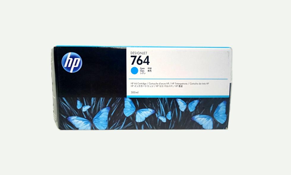 vista frontal cartucho de tinta Hp Designjet 764 cyan para equipo ploter Hp Designjet T3500