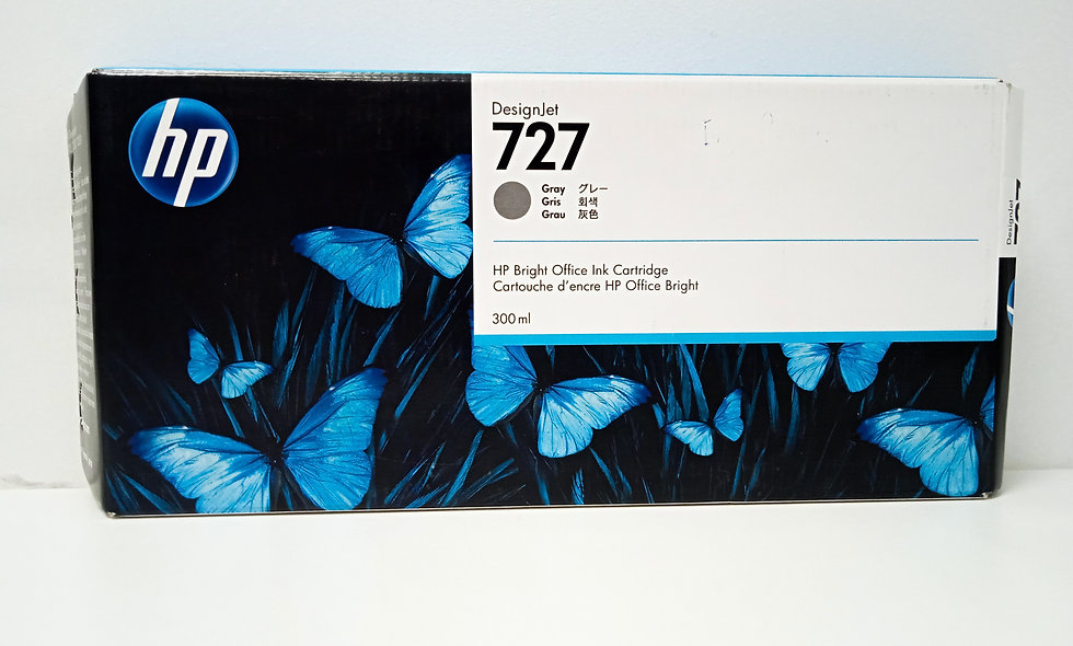 vista frontal cartucho de tinta Hp Desingjet 727 gray para equipos Hp DesingJet T923, T930, T1500, T1530, T2500, T2530