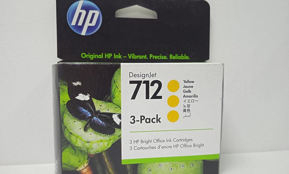 vista frontal de cartuchos de tintar Hp DesignJet 712 yellow