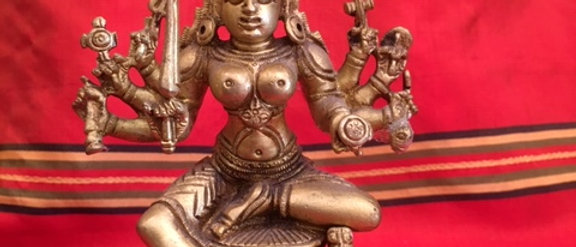 "6"" Brass South Indian Durga, Mariamman"