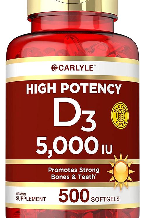 Vitamina D3 5,000 IUs 180capsulas de gel