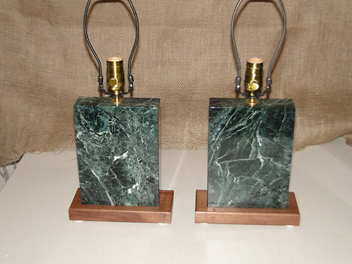 Vermont Marble & Black Walnut Lamps