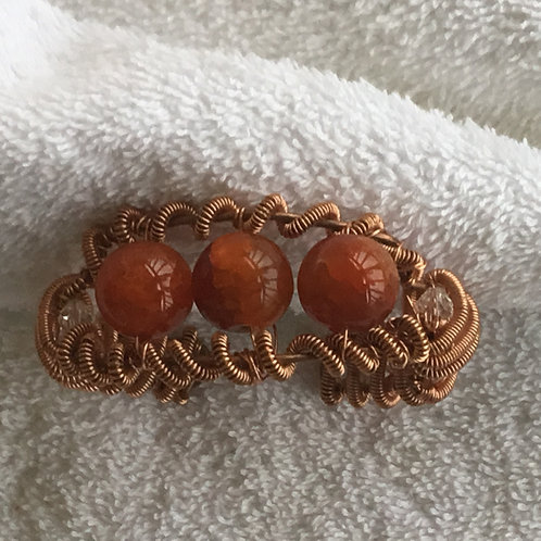 copper Bracelet with Crystals & Beads