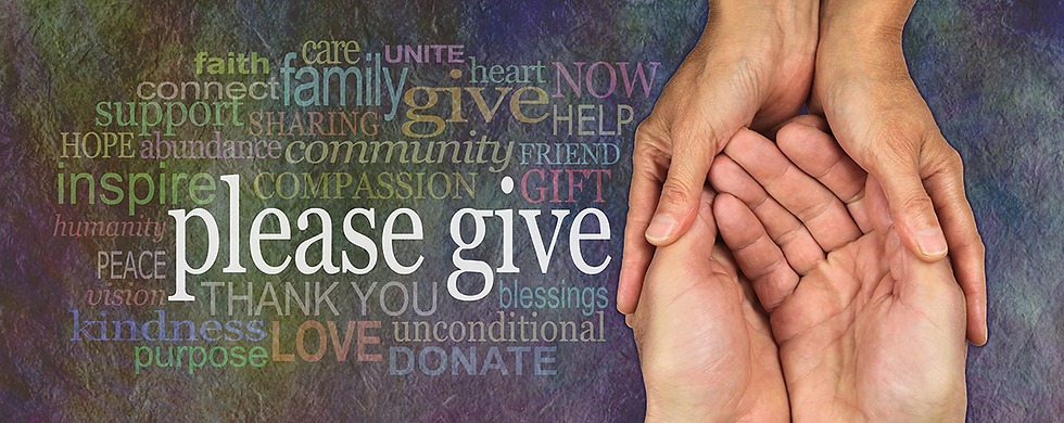 Two sets of hand embrace with the words 'please give'