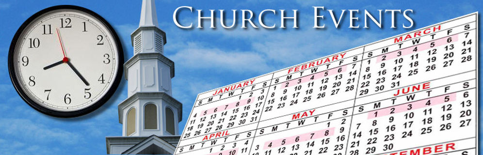 church events calendar and clock title page