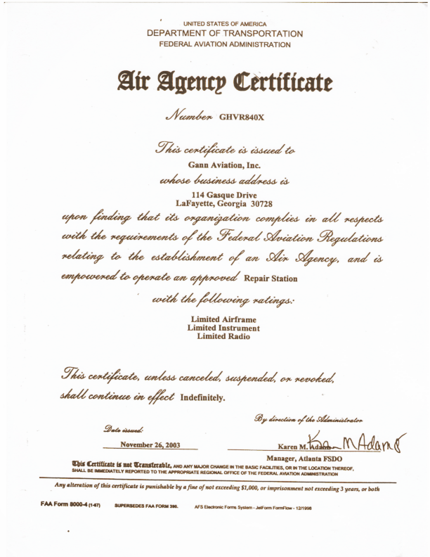 Agency Certification