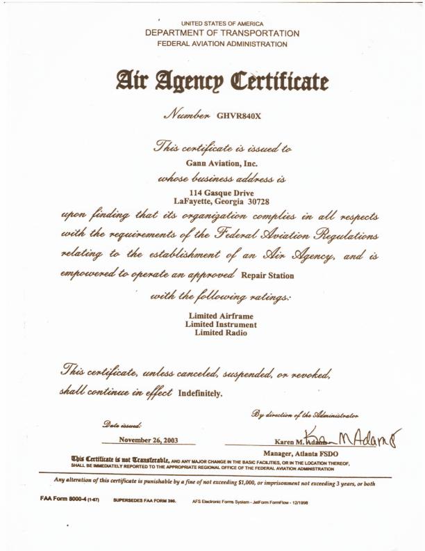 Agency Certification