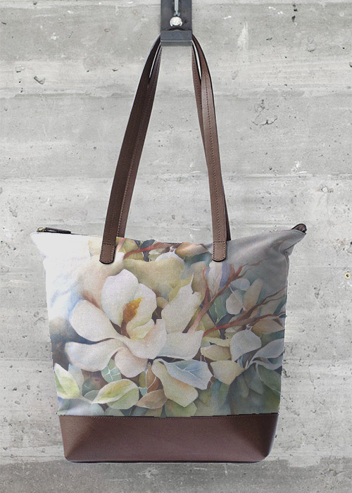 Watercolor Magnolias Leather Bag