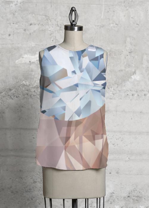 Blue Crystals Sleeveless Top