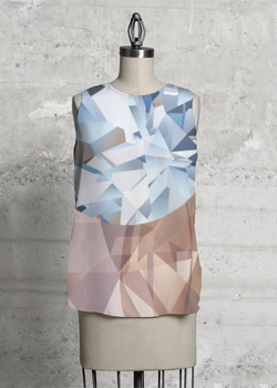 Blue Crystals Sleeveless Top