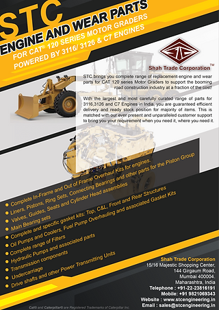 Engine and Strutural parts for CAT 120 and 140 Series Graders