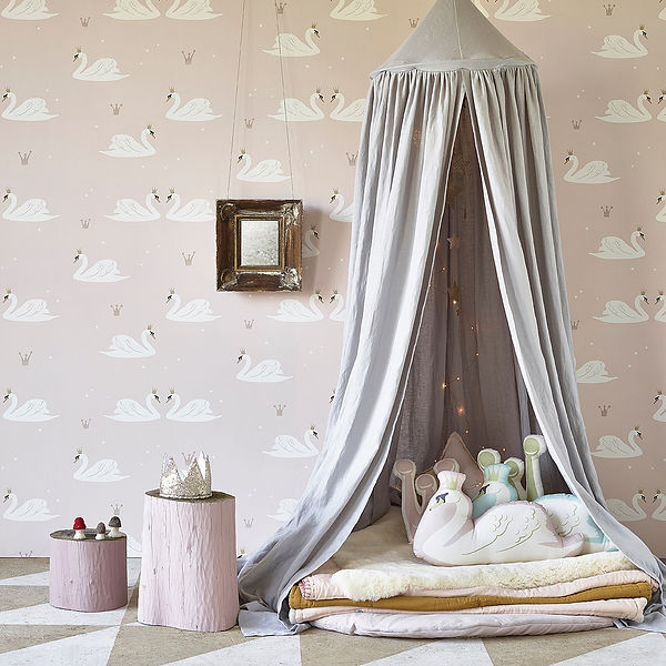 Hibou_Home_Swans wallpaper_Pale Rose_HH0
