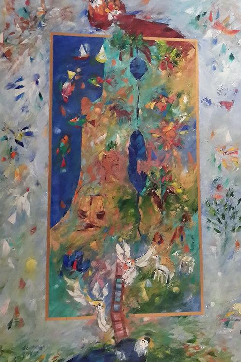 אדוארד בן אברם: 'סולם יעקב' שמן על קנווס חתום אישית על ידי האמן