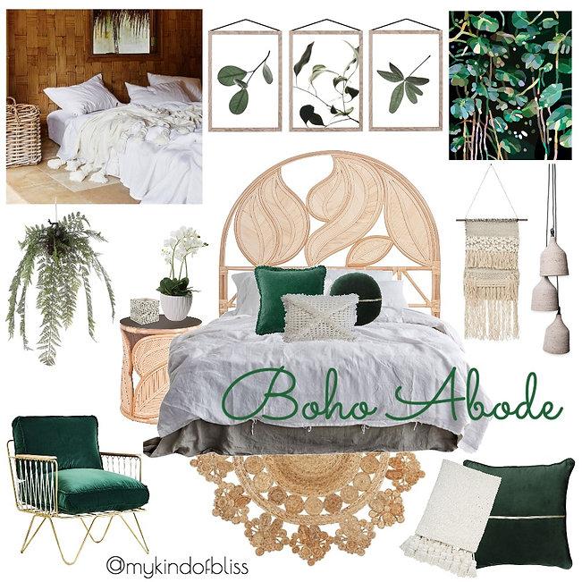 Boho Abode, velvet cushions,my kind of bliss, boho style, cane furniture, bohemian, mood board, coastal decor, interior design, interior stylist, bedroom , australian designer, property stylist, living room inspo, coastal styling, home decor, linen, white room, green velvet, freedom, zanui, tassels, homewares, cushions, room design, coastal home, botanical, botanical style, tropical style,
