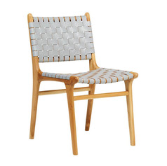 Leather strapping Dining Chair- Teak & Grey