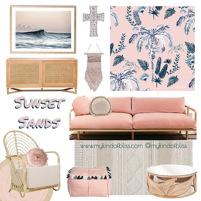 Pretend that you live by the coast in this chilled living space. The blush  palette and lush lounge make this the perfect place to unwind after a long day. room design, my kind of bliss, living room decor, lounge room Inspo, coastal style, boho decor, property styling, perth interior designer, coastal bedroom, bohemian home, blush, pink, beach hose, palm trees, wallpaper