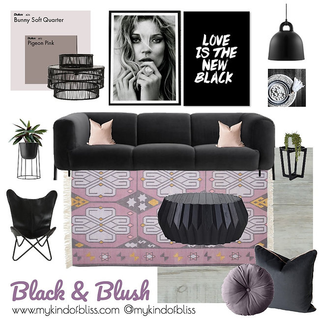 The perfect luxe livingroom to chill and unwind.  The touches of blush and purple pop against the dramatic black decor and create a chic and exciting space.Living room design, living room decor, lounge room, my kind of bliss, mood board, perth interior designer, property styling, boho style, black decor, blush