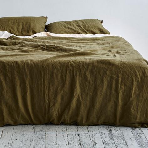 Linen Duvet Set in Moss