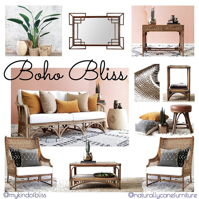 boho bliss, bohemian style, my kind of bliss, urban style, boho, bohemian, mood board, moroccan, decor, interior design, interior stylist , australian designer, property stylist, living room inspo, tribal styling, home decor, cane furniture,  rattan chair, homewares, cushions, rattan, south american style, rustic decor, earthy palette