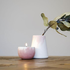 Pink and White Marbled Tea Light