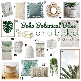 Botanical Boho Bliss. Boho decor for your home under $50.00 each.