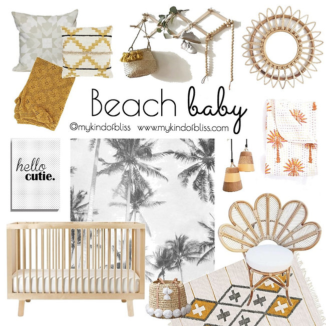 Recreate this tropical nursery at home with this warm colour palette and natural bohomian inspired decor. (nursery design, my kind of bliss, coastal decor, nursery inspo, coastal style, boho decor, property styling, perth interior designer, interior design, boho nursery, boho baby)