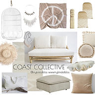 Coast Collective Living Room Mood Board Design.Bohemhian, coastal, natural and neutral decor